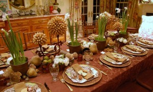 Holiday Tablecloth and settings