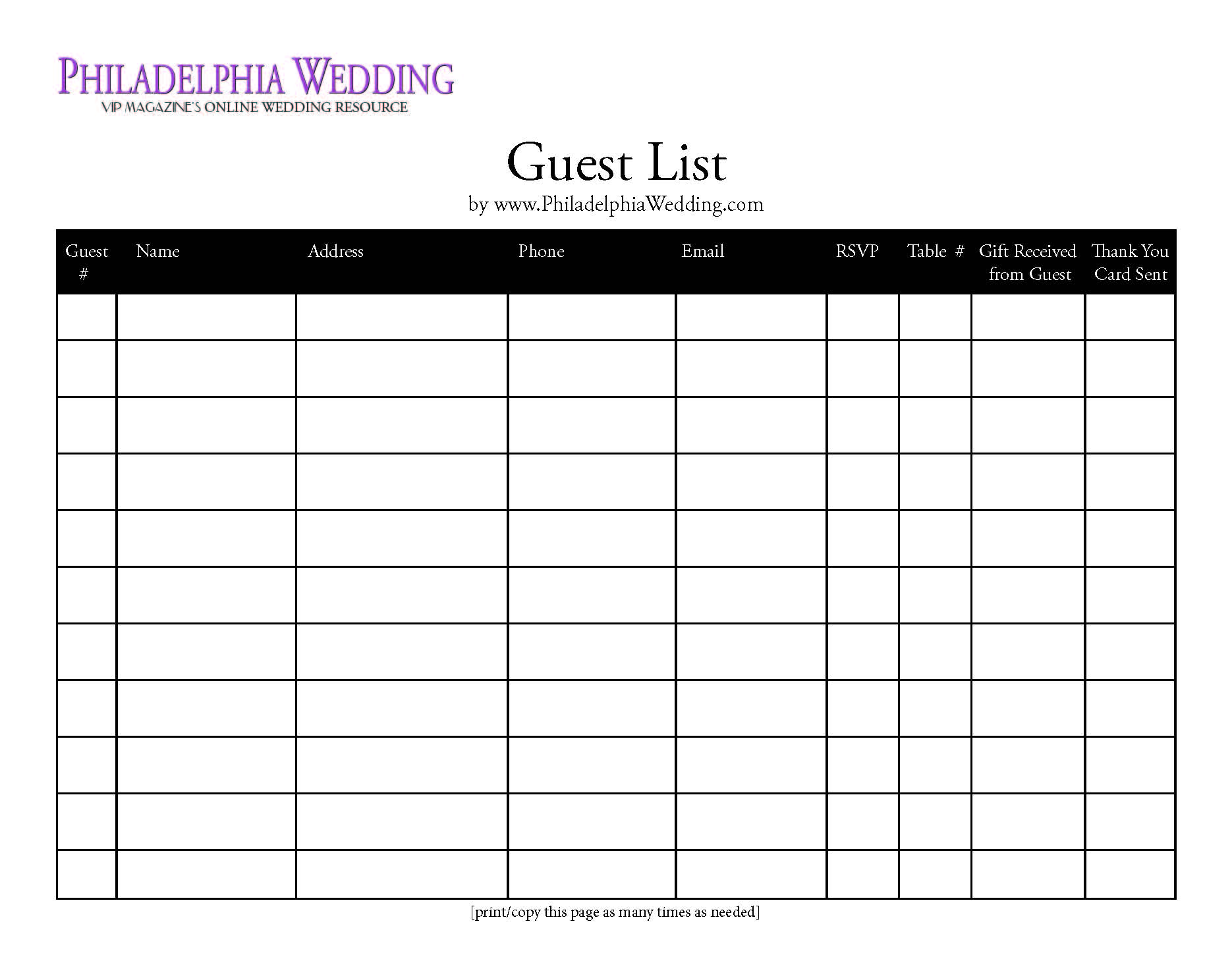 wedding guest list excel